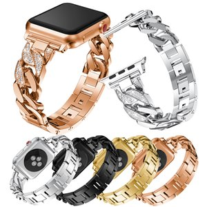 Bling Metal Chain iWatch Band 38mm 42mm Stainless Steel Replacement Jewelry Diamond iWatch Wristband Sport Strap for Apple Watch Seris 1,2,3