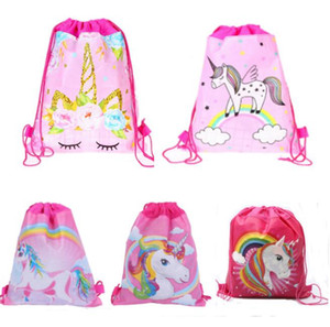 Wholesale 34 cm Unicorn Printing Drawstring Backpack Girls Kids Cartoon Backpacks Theme Party Unicorn String Bags Candy Bags Drawstring Gifts Bags