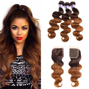 Brazilian Ombre Human Hair Weave Bundles with Closure Two Tone Blonde 4 30# Brazilian Body Wave Human Hair Extensions with Closure