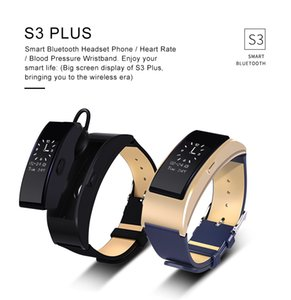 Wholesale New arrival S3 plus Bluetooth Earphone Smart Bracelet Sport Wristband Bracelet Band Passometer Pedometer Hands free Headset for IOS Android
