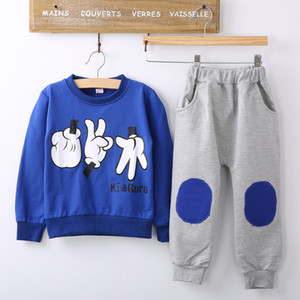 Wholesale 2017 Spring Autumn Children Cotton long sleeved Track Suit Two Sport clothing Set Baby boys Girls Sets Shirt pants