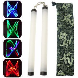 Colorful Led Lamp Light Nunchakus Nunchucks Glowing Stick Trainning Practice Performance Martial Arts Kong Fu Kids Toy Gifts Stage Props on Sale