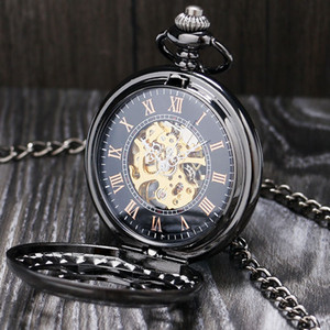 Wholesale Lucury Steampunk Mechanical Pocket Watch Silver Black Hollow Flower Steel Hand Wind Men Women Pendant Fob Chain Birthday Gifts