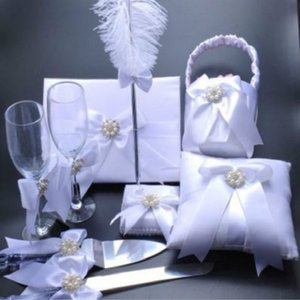 Wholesale European wedding Book Knife and Server Check the pen book set Flower basket cup knife and fork ring pillow