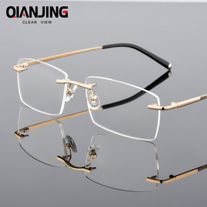 QianJing Alloy Rimless Optical Eyeglasses Rimless Spectacle Frame Men Gents Frameless Clear Glasses Gold Prescription Eyewear