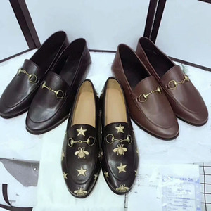 Wholesale Designer Women Leather Flats Mules embroidered bee leather Horsebit loafer girl flat with buckle Size With box Many colors in stock