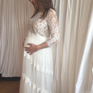 Elegant Maternity Wedding Dresses 2018 Jewel Long Sleeve Floor Length Appliques Garden Country Pregnant Girls Bridal Gowns robe de mariée
