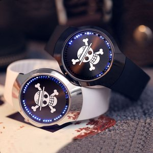 Wholesale Top Luxury Blue LED Luminous Touch Screen Watch Men Smart Electronics Digital and One Piece TFBoys Clocks Gifts Ulzzang