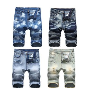 Wholesale 2018 mens distressed ripped short jeans fashion brand designer casual knee length skinny silm denim shorts hip hop denim jeans shorts SP14