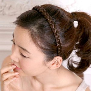 Wholesale Our Vintage Jewelry pigtail wig hair elastic twist knitting head hoop hair band female headdress