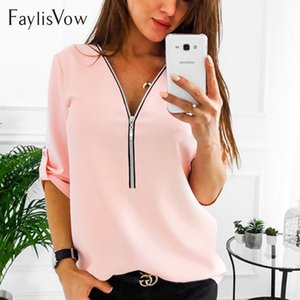 Wholesale Zipper Short Sleeve Women Shirts Sexy V Neck Solid Womens Tops And Blouses Casual Tee Shirts Tops Female Clothes Plus Size XL