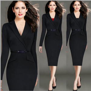 Wholesale Long Sleeves V Neck Women Dresses Slim Fit Dresses For Lady Sexy Women Clothes Pencil Dress Casual Dresses