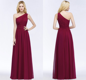 2018 Burgundy Chiffon Bridesmaid Dresses A Line One Shoulder Pleats 100% Real Image Maid of Honor Gowns Evening Prom Dress CPS878 on Sale