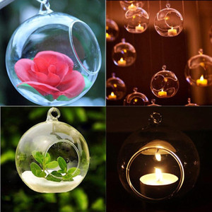 1Pc 80MM Romantic Hanging Tealight Holder Glass Globes Terrarium Wedding Candle Holder Candlestick Vase Home Hotel Bar Decoration