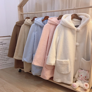 Wholesale Kawaii Macaroon Colors Women s Winter Fleece Warm Long Coat Outwear Long Sleeve Hooded Coat Cute