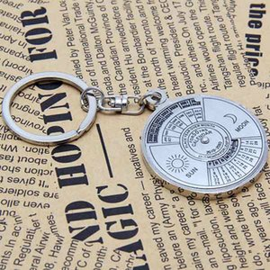 Wholesale 1pcs Mini Years Silver Stailess Steel Alloy Perpetual Sun Moon Carving Calendar Keychain Ring Unique Metal llavero Keyring