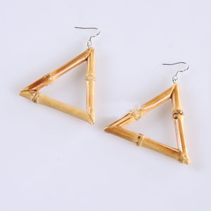 Wholesale Fashion Pop Jewelry Natural Wind Triangle Bamboo Earrings Handmade Creative Bamboo Whip Earrings For Women Hoop Earrings Gift Free DHL H626F