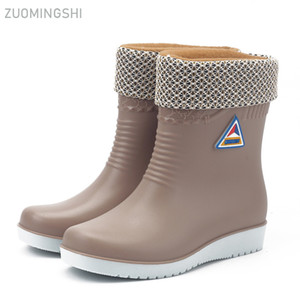 Wholesale Winter warm rain boots women waterproof boots car wash shoes fashion anti skid work shoes