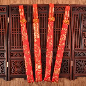 Wholesale Wedding Supplies Red Wood Chopsticks Printing Both The Double Happiness And Dragon With Cloth Bearing Sleeve cd ff