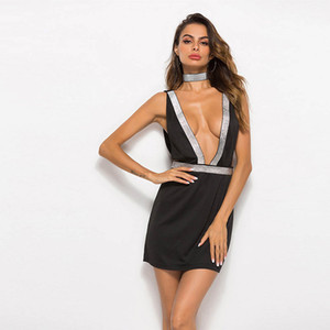 Wholesale Hot sale sexy dress color solid black white summer dresses slash neck sequin chain knee length bodycon backless dress