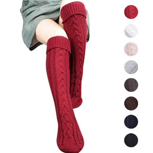 Wholesale 8colors knitting Women Long Boot Socks wool Over Knee Thigh High Warm Stocking Pantyhose Tights leg warmers fashion socks pair FFA952