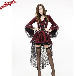Wholesale Gorgeous Embroidery and Stain New Halloween Cosplay Dance Vampire Clothing Claret Vampire Role play Noble Costume