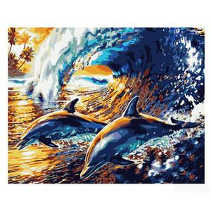 Wholesale Hot sale diy oil painting number oil painting white canvas cloth three standard pen sea waves dolphin seashore colorful attractive picture