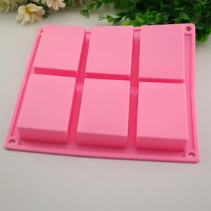 Wholesale 6 Cavities Handmade Rectangle Square Silicone Soap Mold Chocolate Cookies Mould Cake Decorating Fondant Molds