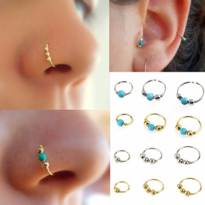 Wholesale 3Pcs Set Fashion Retro Round Beads Nose Ring Nostril Hoop Body Piercing Jewelry vintage fake nose ring Faux Piercing Body Jewelry