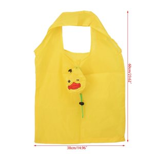 Wholesale THINKTHENDO Cartoon Duck Foldable Shopping Handbag Recycle Carrier Tote Reusable Eco Bag Folding Nylon Cloth Yellow Bags