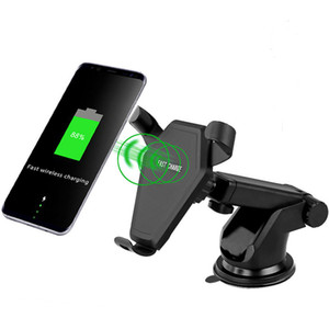 Wholesale Qi wireless Fast Charge Stand Airvent On board Car Holder W datawire for iPhone iPhone X Samsung Android cellphone Devices