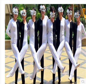 Wholesale Black white optical illusion leg Siamese dance costumes Adult child Russian performance clothing personality ballroom dress