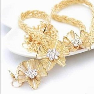Wholesale Fahion Flower metal all match diamond studded women s diamond chain belt for women