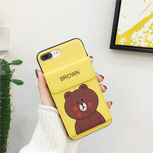 Wholesale Cartoon Bear Flip Leather Wallet Phone Shell Animal Print Card Slot Holster Back Cover for iPhone XS Max XR s Plus