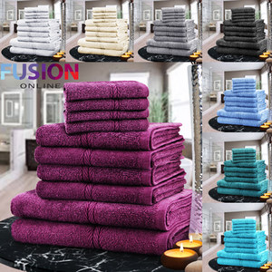 LUXURY TOWEL BALE SET 100% COTTON 10PC FACE HAND BATH BATHROOM TOWELS 9