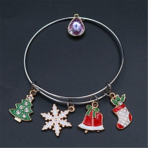 Wholesale 1pc Handmade Drip Oil Christmas Tree Snowflake Pendant Christmas Socks Bell Pendant DIY Adjustable Metal Bangles Lady s Gift