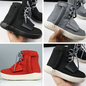 Wholesale 2018 High Top 750 Tubular Invader Leather Kids Skateboard Sneakers Genuine Leather Hot Drilling Down 750 Children Athletic Running Shoes