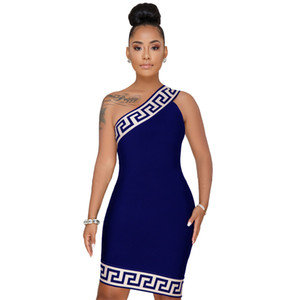 Wholesale plus size XL summer women african D printed sexy club wear one shoulder short dress party bodycon dresses vestido