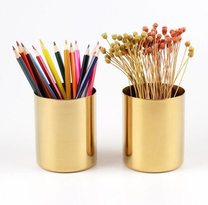 Wholesale gold desk organizer resale online - 400ml Nordic style brass gold vase Stainless Steel Cylinder Pen Holder for Desk Organizers and Stand Multi Use Pencil Pot Holder Cup contain