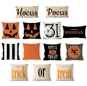 Wholesale Halloween Cushion Cover Halloween Pumpkin Trick Or Treat Decorative Linen Throw Pillow Case Festival Home Decoration