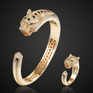Wholesale bangle tigers for sale - Group buy Theresa Statement Men Bangles Tiger Animal Bangle Ring Jewelry cubic Zircon Anel Men copper Anniversary Jewelry