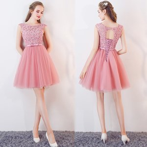 Wholesale Pink Knee Length Homecoming Dresses New Designed Short Cocktail Party Gowns Corset Back Lace Tulle Gowns CPS1125