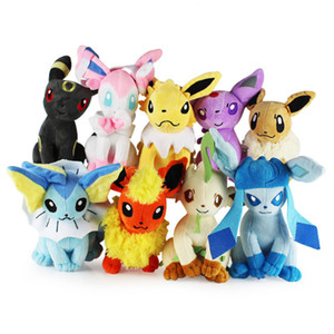 "Top New 9 Styles 8"" 20CM Sitting Eevee Umbreon Espeon Jolteon Sylveon Glaceon Vaporeon Flareon Leafeon #W Plush Doll Anime Best Soft Toys"
