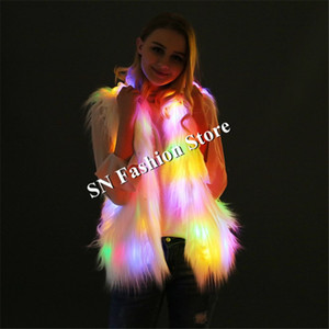 Wholesale CC64 Colorful light led jacket ballroom dance costumes sexy luminous vest model performance dj stage show wears dress club cloth