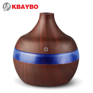KBAYBO USB 300ml Aroma Humidifier Aromatherapy Wood Grain 7 Color LED Lights Electric Aromatherapy Essential Oil Aroma Diffuser