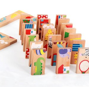 Wholesale Baby Kid Animal Domino Blocks Toy Safe Wood Domino Educational Toys Gift for Kid Above Years Old