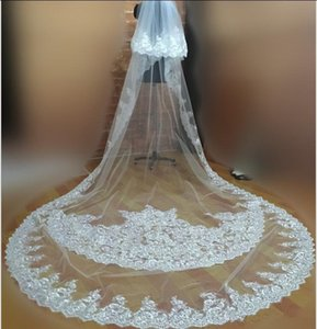 Wholesale Real Picture White Ivory Bridal Veils Applique Lace Edge Meters Cathedral Length Two Layer Wedding Accessories With Comb