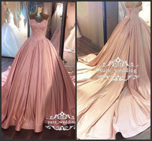 Wholesale 2018 New Soft Pink Ball Gown Prom Dresses Sweetheart Lace Ruffled Satin Corset Dusty Rose Quinceanera Dresses Sweet Gowns Evening Dresses