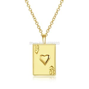 ювелирное ожерелье для покера оптовых-Creative Pattern Poker Ten J Q K A Brozen Long Necklace Plated Gold Chain Charm Pendant Jewelry Necklace Women Christmas Gift