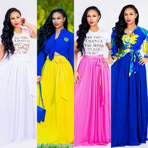 Wholesale 2018 Summer Autumn Long Chiffon High Waist Women Skirts with Sash Elegant Pleat A line Floor Length Casual Dress White Yellow Blue Fuchsia